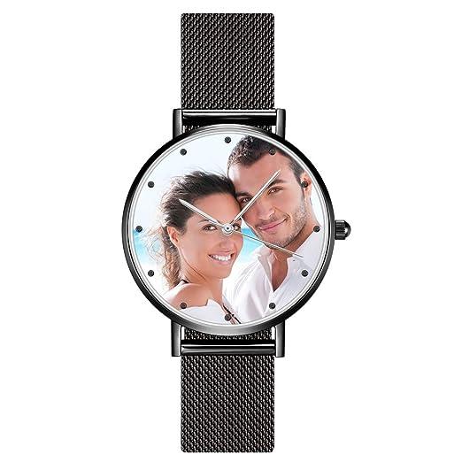SOUFEEL Reloj Analógico Personalizados con Foto Grabar Texto Reloj Cuarzo Ultra Delgada Plata Regalo Dia de Madre: Amazon.es: Relojes
