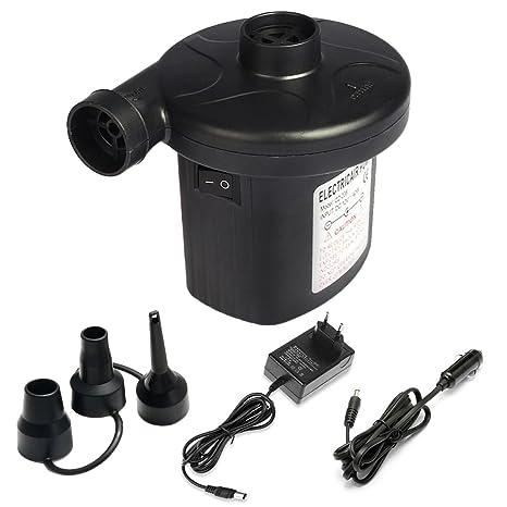 Bomba de aire eléctrico ELOKI, 3 en 1 infla y desinflama adaptadores de boquilla, 2 en 1 Fuente de alimentación, Electric Air Pump, negro, usado para ...