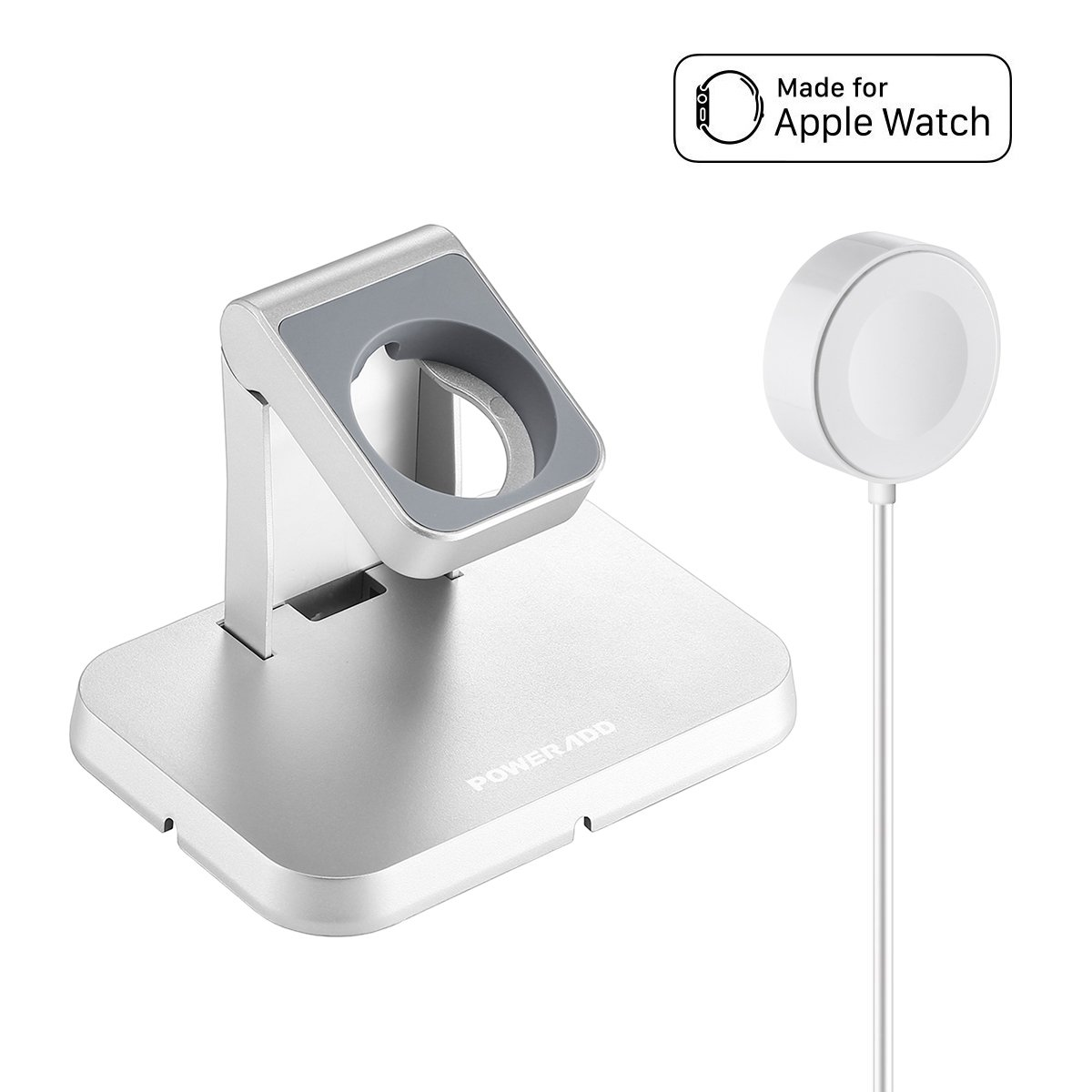 POWERADD [ Apple MFi Certified Apple Watch Charger, Magnetic Charging Dock and Stand, Apple Watch/iWatch 38mm & 42mm with Detachable Magnetic Charging Cable 3.3ft, Apple Watch Series 1/2 / 3/4