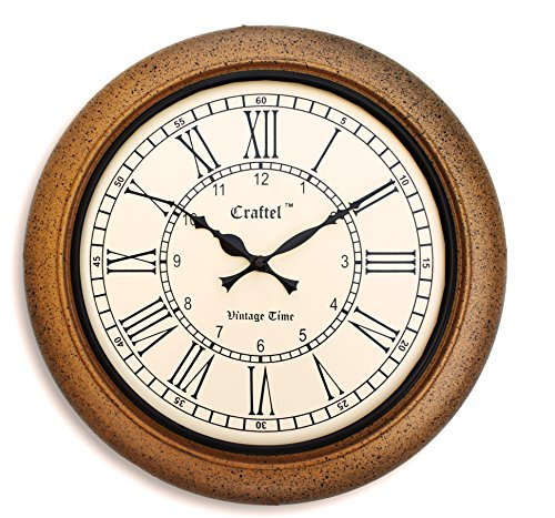 Craftel Brown Wooden Antique Round Roman Vintage Silent Wall Clock for Home And Living Room For Sale