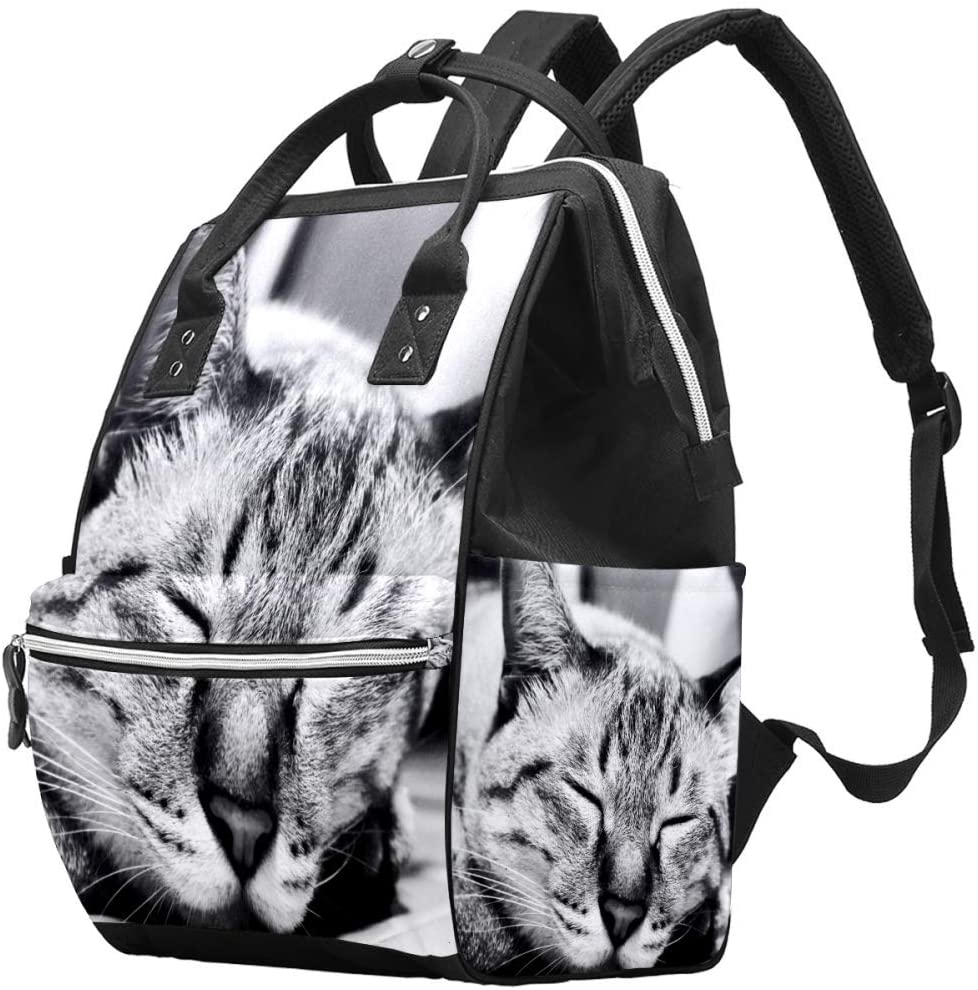 Cute Sleeping Cat Funny Animal Diaper Bag Laptop Backpacks Notebook Rucksack Travel Hiking Daypack for Women Men