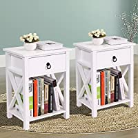 LAZYMOON 2 PCs White MDF Nightstand Bedside Table 1 Drawer End Side Storage Shelf Bedroom