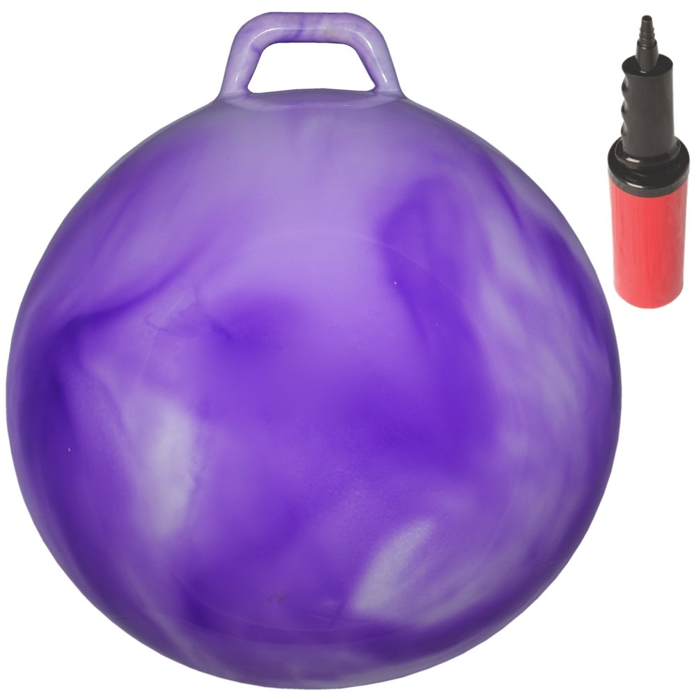 WALIKI Toys Hopping Ball for Kids Ages 3 6 Hippity Hop Ball Hopper Ball Bouncy Ball with Handles Sit Bounce Kangaroo Bouncer Jumping Ball 18 Inches Hurricane Purple Pump Included
