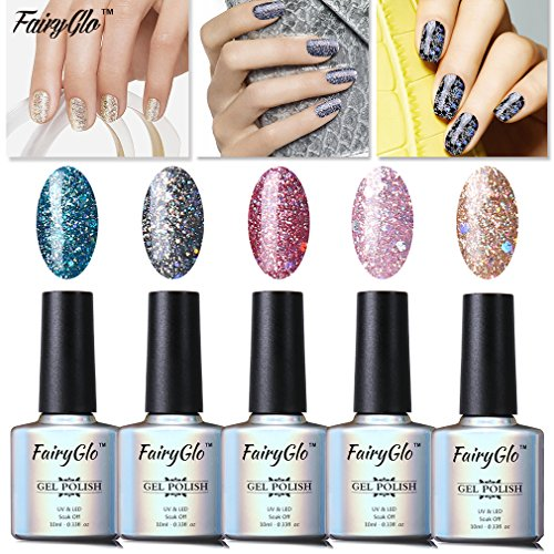 FairyGlo Well-Picked 5 Colour Combo Glitter Gel Nail Polish UV LED Soak Off Shimmer Manicure Stareter Kit Mirror Finish Gorgeous Pro Nail Art Collection Gift Set 10ml 017