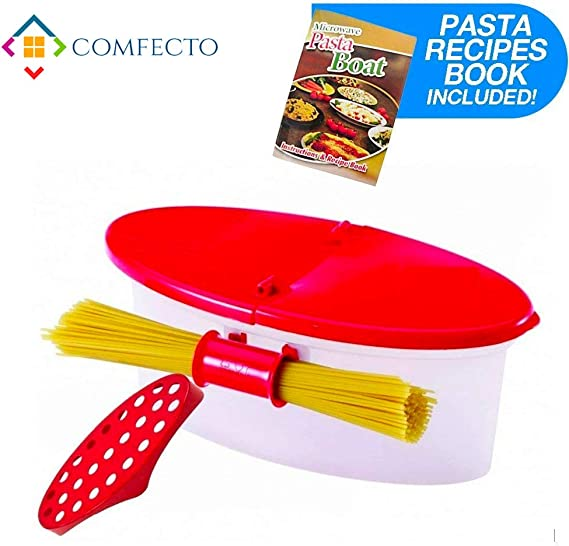 Microwave Pasta Cooker with Strainer, Food Grade Heat Resistant Pasta Boat Vegetable Steamer Spaghetti Noodle Cooker with Capacity Up to 5 Pound, No ...