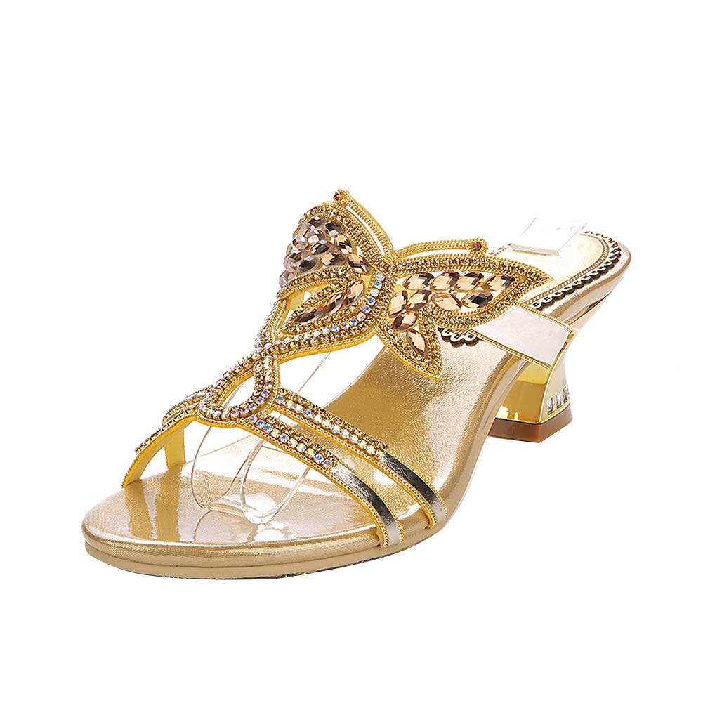 gold Women's Rhinestone Bow Thick Heel Sandals gold Mid Heel Diamond Leisure Slippers Elegant Dress Sandals