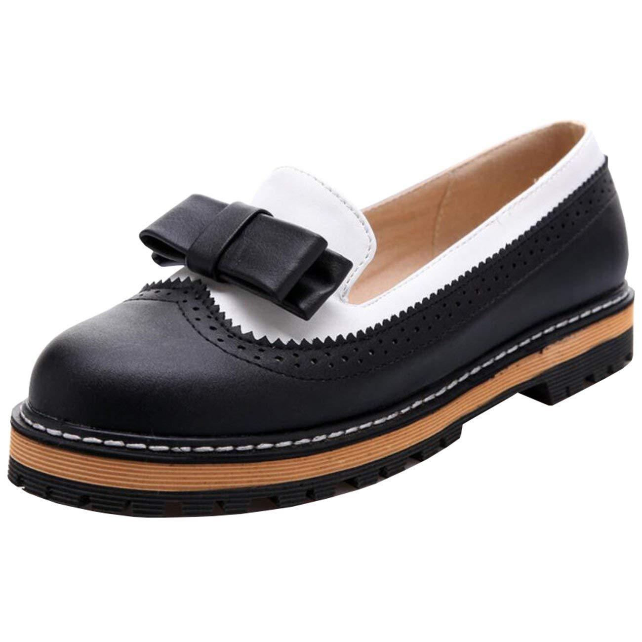 Fuxitoggo Damen Bowknot Round-Toe Flache Slip-On Loafers (Farbe   Schwarz Größe   7 UK)