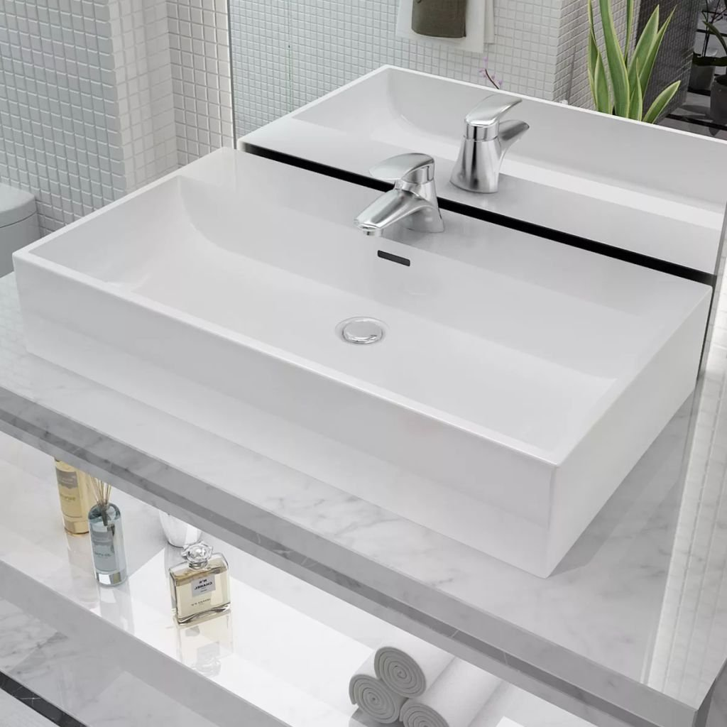 Sink with Hole for Ceramic Tap for Indoor Bathroom 76 x 42.5 x 14.5 cm White