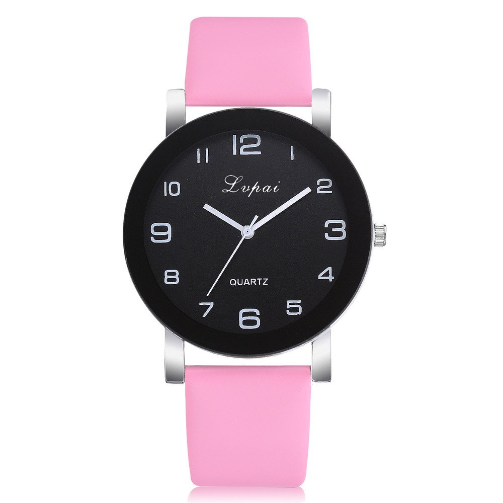 Women Watches Clearance Under 5 Dollars,Women's Casual Quartz Leather Band Watch Analog Wrist Watch,Women's Wrist Watches,Pink