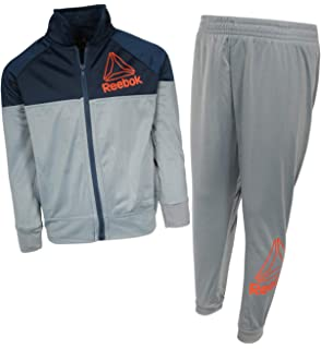 d2371905736e Reebok Boys 2-Piece Tricot Performance Tracksuit Set with Zip Up Jacket and  Matching Jogger