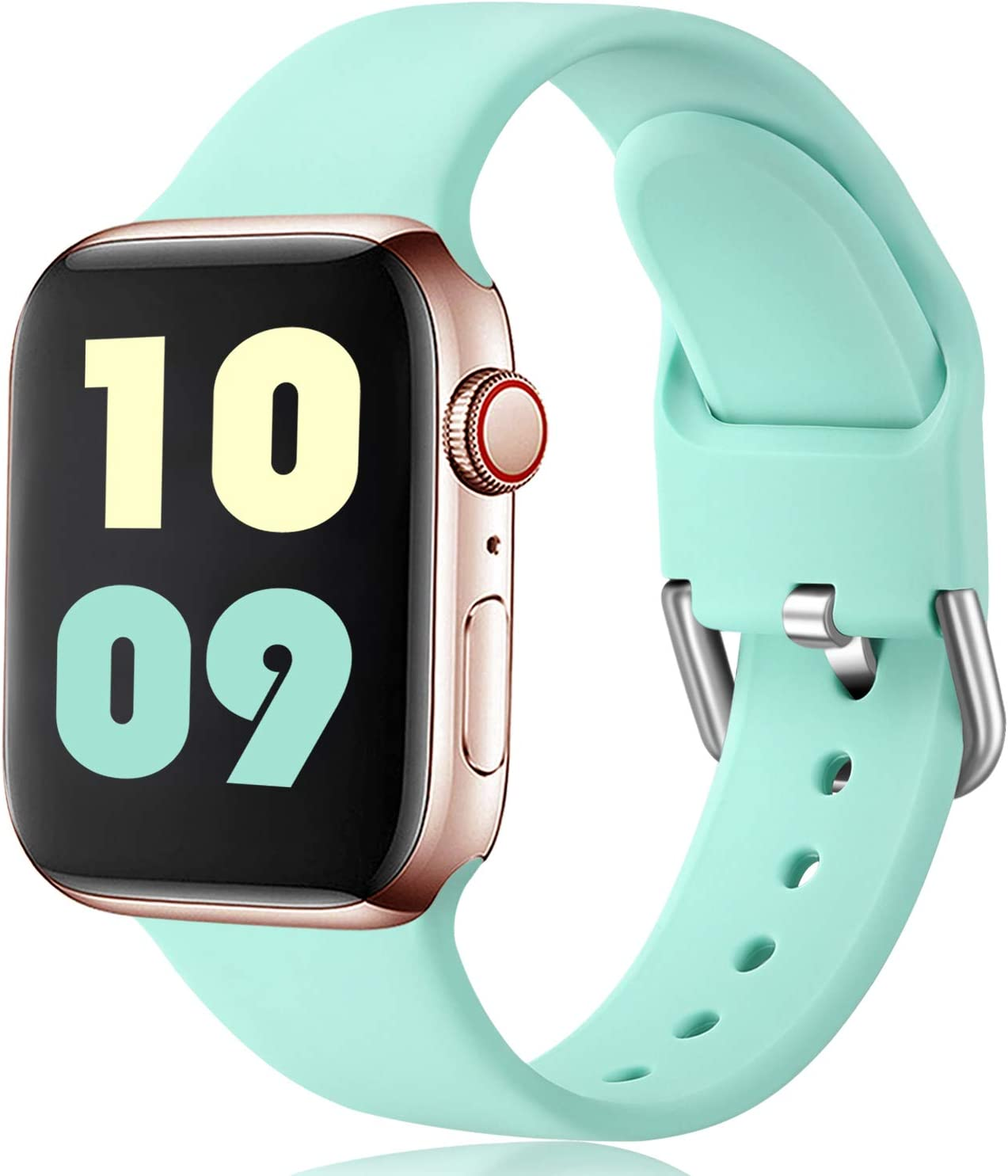 Ouwegaga Compatible con Apple Watch Correa 38mm 42mm 40mm 44mm, Correa de Reemplazo Deportiva de Silicona Suave Compatible con Apple Watch SE/iWatch Series 6/5/4/3/2/1, 38mm/40mm S/M Nuevo Turquesa