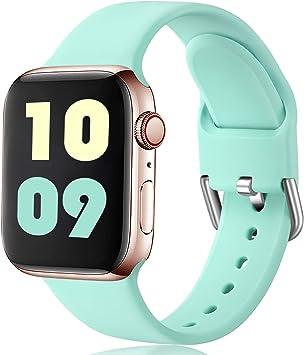 Ouwegaga Compatible con Apple Watch Correa 38mm 42mm 40mm 44mm, Correa de Reemplazo Deportiva de Silicona Suave Compatible con Apple Watch SE/iWatch Series 6/5/4/3/2/1, 42mm/44mm S/M Nuevo Turquesa: Amazon.es: Electrónica