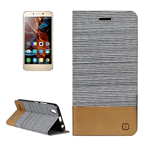 For cellphone Cases, Lenovo Vibe K5 Canvas Pattern PU + TPU Horizontal Flip Leather Case with Holder & Card Slots ( Color : Grey )