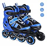 INTEY Inline Skates - Adjustable Size Fitness Inline Roller Skate for Girls and Boys with Light up Wheels (S)