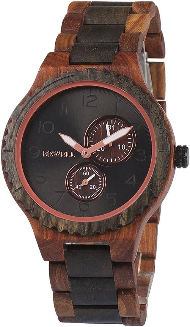 BEWELL Reloj de Madera W154A, Estilo Retro Reloj Hecho a Mano Reloj de Pulsera de Madera Natural con Puntero Luminoso Reloj de sándalo para Hombres
