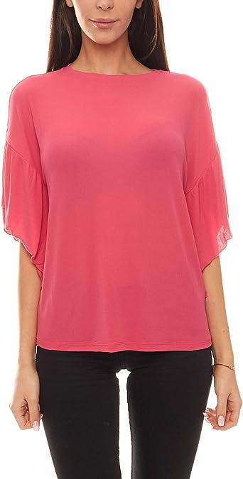 Heine - Camisa de Cuello Redondo para Mujer, Color Rosa: Amazon.es: Ropa y accesorios