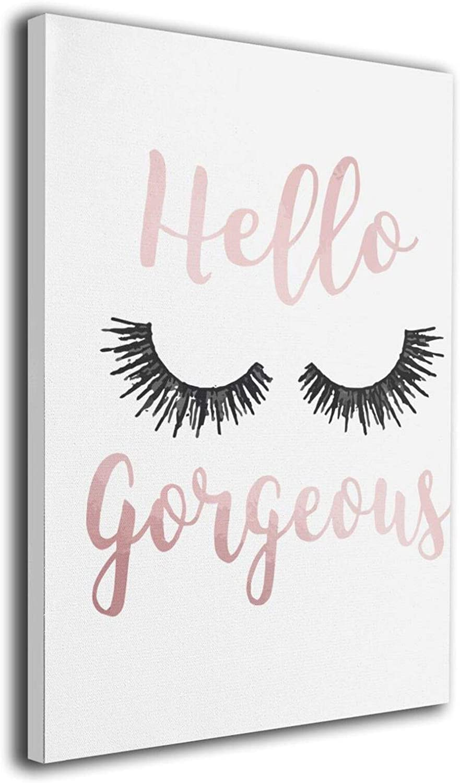 Hello Gorgeous Cute Eyelash Canvas Wall Art Funny Painting Framed Wall Art 40*30cm Wall Decor For Bedroom Bathroom
