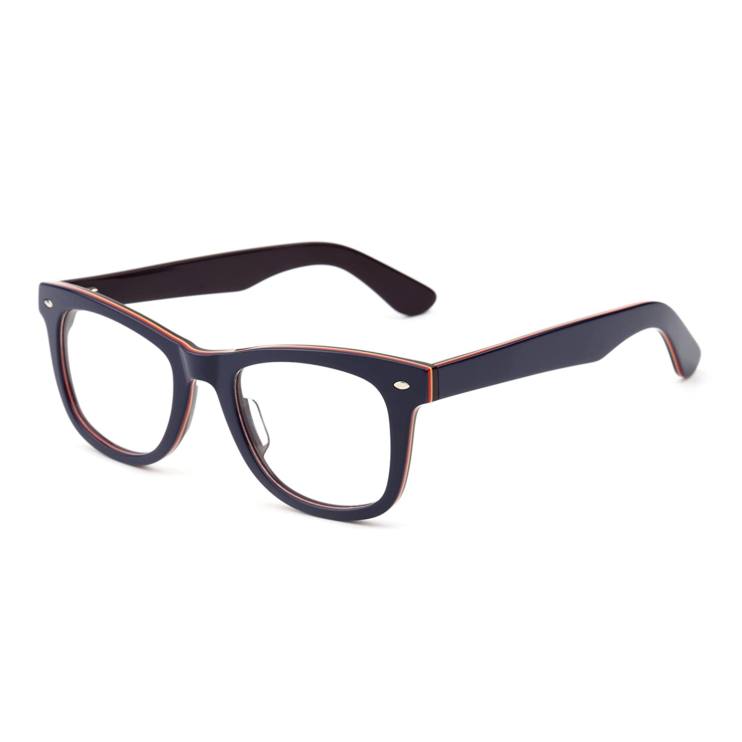 be94a86392c6 Amazon.com  Classic RX Glasses Frame Spring Hinge Clear Lens Square Eyeglasses  Men Women (Black Red Clear)  Clothing