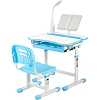 KUBABA Kids Desk and Chair Set Height Adjustable Writing Student Desk Drafting Table Pull Out Spacious Storage Drawer, Kids Study Table with Tilted Desktop (Blue)