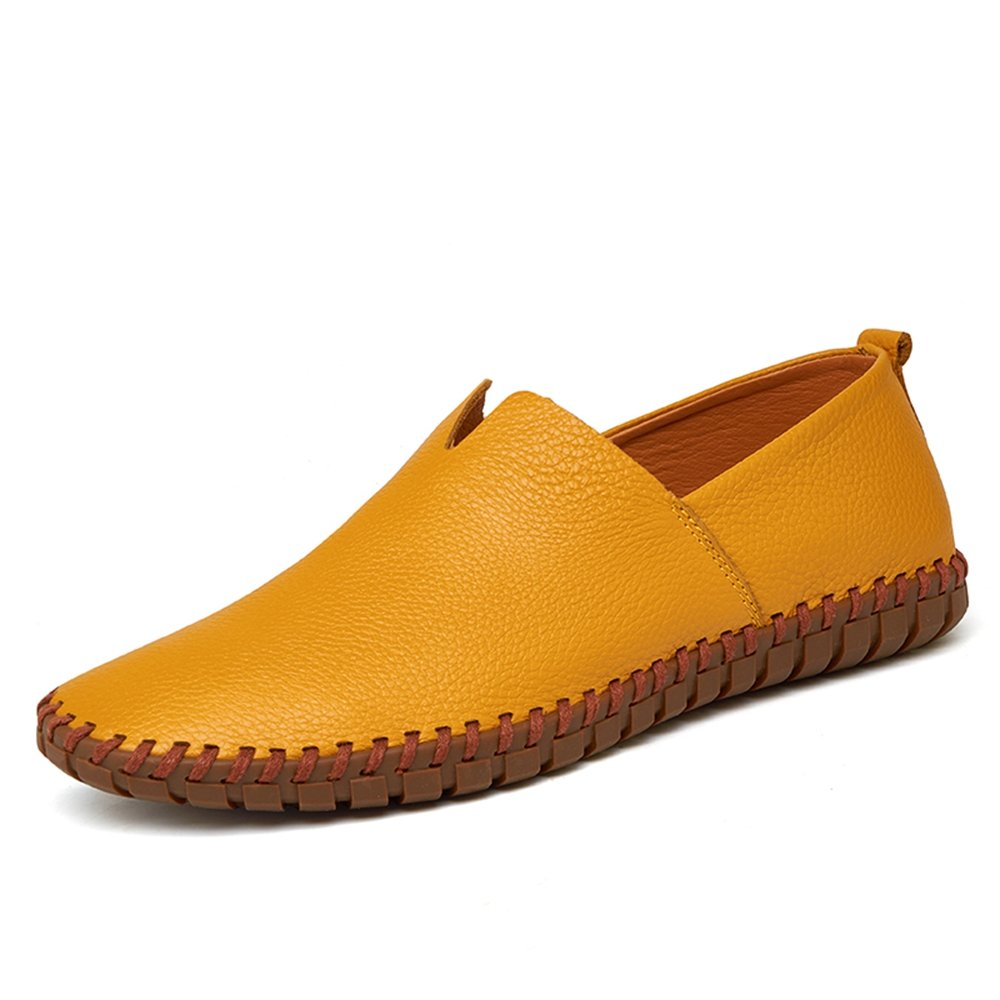 YING LAN Men's Moccasins Genuine Leather Flat Loafers Slip On Walking Driving Summer Beach Boat Shoes Yellow A