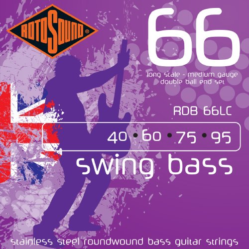 (Rotosound RDB66LC Swing Bass 66 Stainless Steel Double Ball End Bass Guitar Strings)