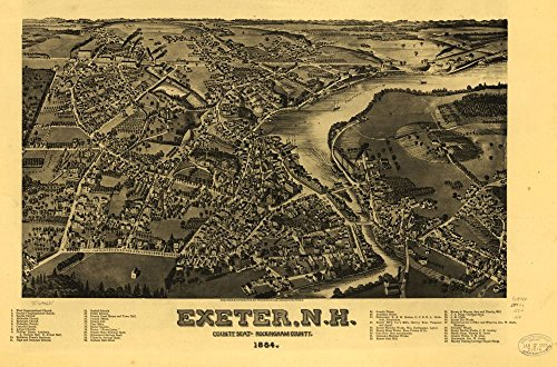 1884 Exeter New Hampshire, Bird's Eye Map Exeter, N.H., county seat of Rockingha County New Hampshire Map