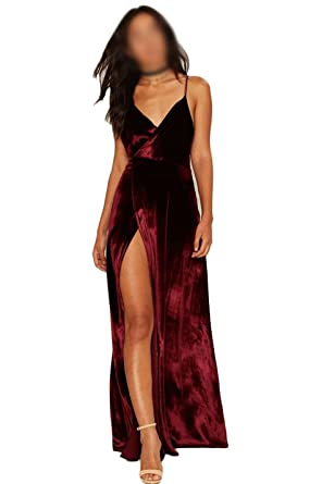 Chupeng Womens Backless Prom Dresses V Neck Straps Velvet A Line Slit Evening Dress Burgundy 2
