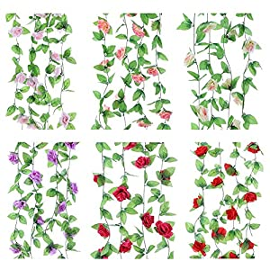 Whitelotous 2pcs Fake Silk Rose Vine Garland Artificial Flower for Wedding Party Home Hanging Decoration 14