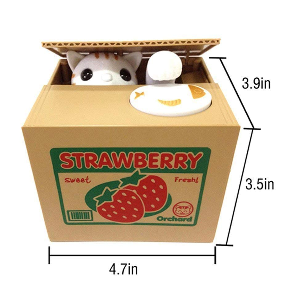 HmiL-U Toy Banks Automatic cat Stealing Coins Birthday for Kids (Strawberry-Cat) by HmiL-U (Image #6)