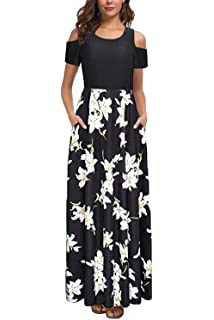 bf0cf7ccfad Kancystore Women s Short Sleeve Floral Maxi Dresses Cold Shoulder Dress  with Pockets