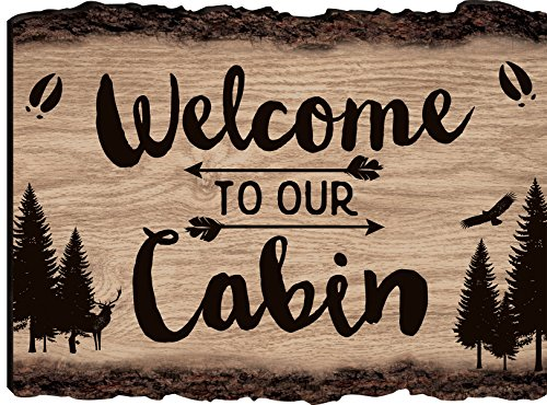 P. Graham Dunn Welcome to Our Cabin Woodland 9 x 12 Wood Bark Edge Design Wall Art Sign