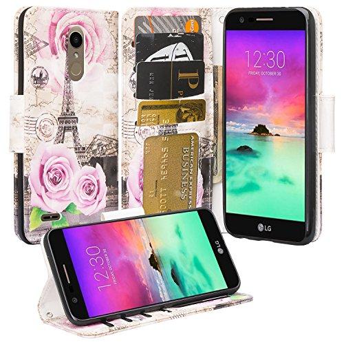 - LG K10 2018/K30/Premier Pro LTE/Harmony 2/Phoenix Plus/L413/L413DL Case, [GW USA] Wrist Strap Flip Folio [Kickstand] Pu Leather Wallet Case with ID&Credit Card Slot Phone Case Cover - Paris