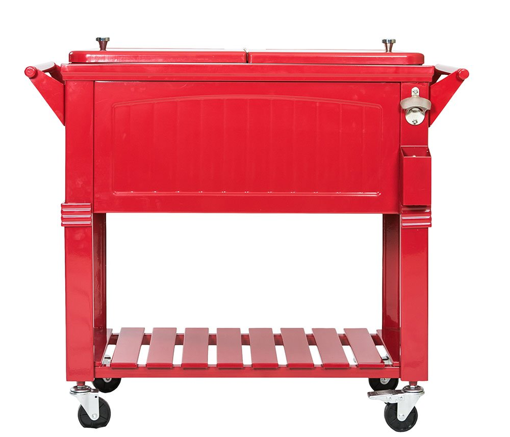 Permasteel PS-203-F1 PS-203F1-Red 80 Qt. Antique Patio Rolling Cooler, Red