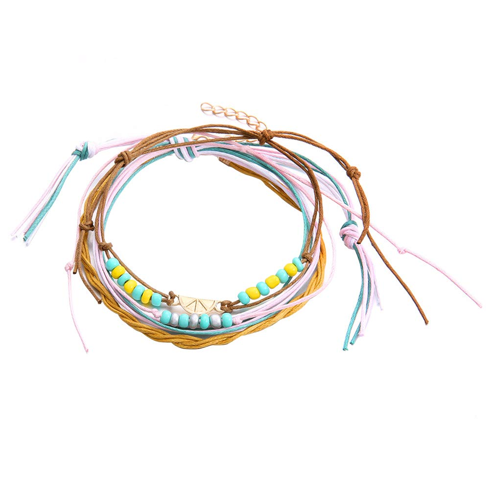 minishop659 4Pcs/Set Multi-Layer Colorful Beaded Beach Barefoot Sandal Anklet Ankle Bracelet