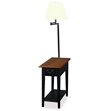 Leick Chair Side Lamp End Table With Drawer, Antique Black
