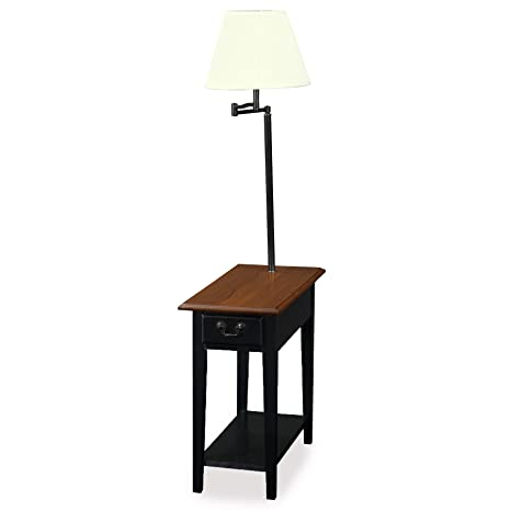 amazoncom leick chair side lamp end table with drawer antique black kitchen u0026 dining