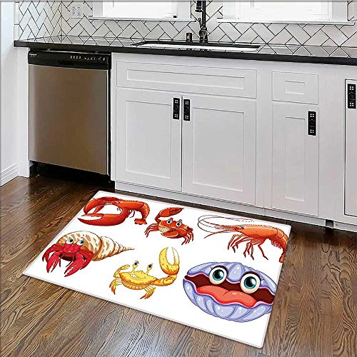 - Perfect Kitchen Mat Crabs of Sea s like Crab Hermit Crab Lobster Shell Shrimp Print Orange Yellow Easy Clean W22