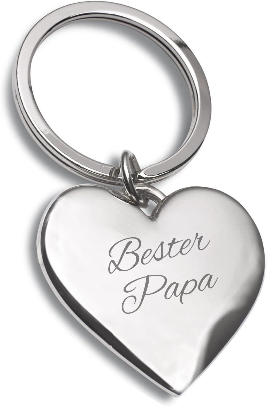 Schlüsselanhänger Herz Silber Mit Gravur Bester Papa Ideal Als Geschenkidee Zum Vatertag Oder Für Den Ehemann Küche Haushalt