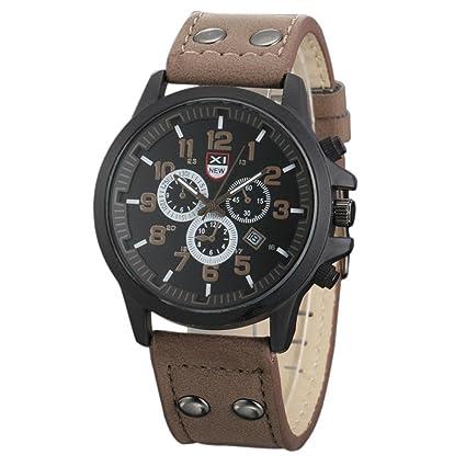 nuevo concepto d58f4 7ad83 Xinantime Relojes Hombre,Xinan Bolso de Cuero del Deporte de la Correa  Reloj Cuarzo Ejército (Café)