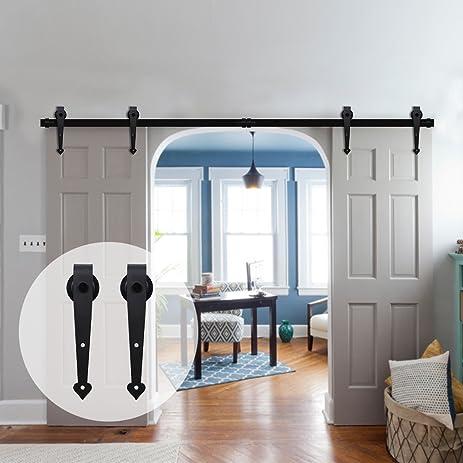 CCJH 9FT Heart Style Country Steel Sliding Barn Interior Door Hardware    Black For Double Door