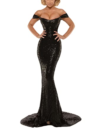 e16d3d43bc MonaBridal Women s Sequin Off The Shoulder Mermaid Long Evening Prom Dress  Black 2
