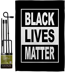 "USA Made Can't Breathe BLM Garden Flag Set with Stand Support Cause Anti Racism Revolution Movement Equality Social House Decoration Banner Small Yard Gift Double-Sided, 13""x 18.5"", Thick Fabric"