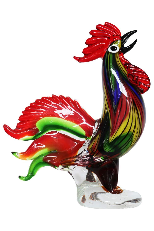 Glasfigur Figur Skulptur Huhn Glas Glasskulptur Hahn Murano Antik-Stil - 35cm