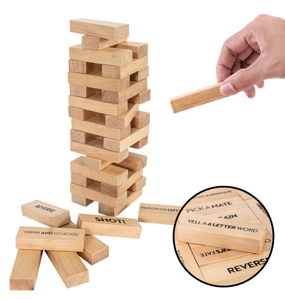 Buzzed Blocks Adult Drinking Game - 54 Blocks w/Drinking Commands and Games On 30 Of Them - Make Own Rules on Remaining Blocks | Funny Entertaining Party Game | Perfect Novelty Gift