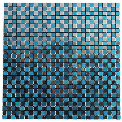Royllent Modern Matel Aluminum Mosaic Bursh Type Peel&Stick Tiles Kitchen (Metal Accent Tile)