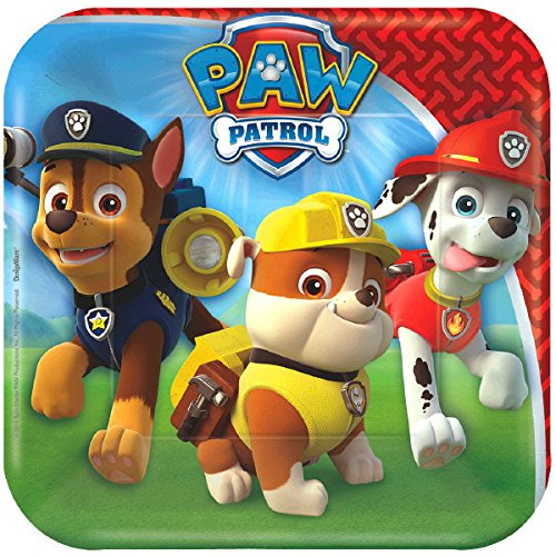 Paw Patrol Dessert Plates Napkins Cups and Table Cover Serves 16 with Birthday Candles Bundle for 16