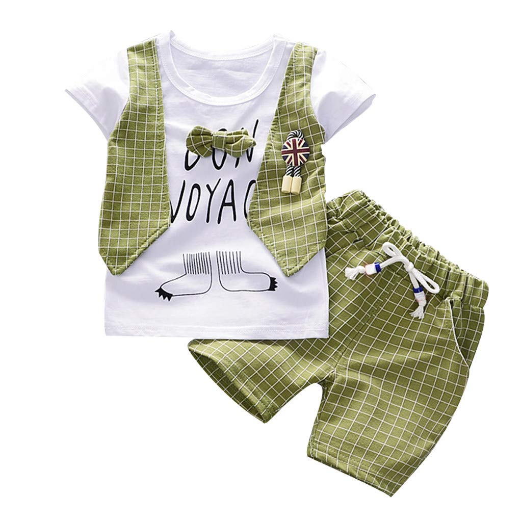 Summer Outfits for Kids Boys,Letter Bow Plaid T-Shirt and Drawstring Shorts 2Pcs (Green, Recommended Age:6-12Months)