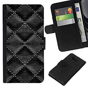 Diamond Quilt Leather - la tarjeta de Crédito Slots PU Funda de cuero Monedero caso cubierta de piel Samsung ALPHA G850