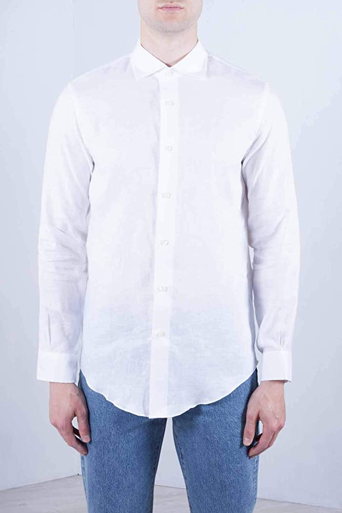 BROOKS BROTHERS Men - White linen Milano Fit sport shirt - Size XS: Amazon.es: Ropa y accesorios
