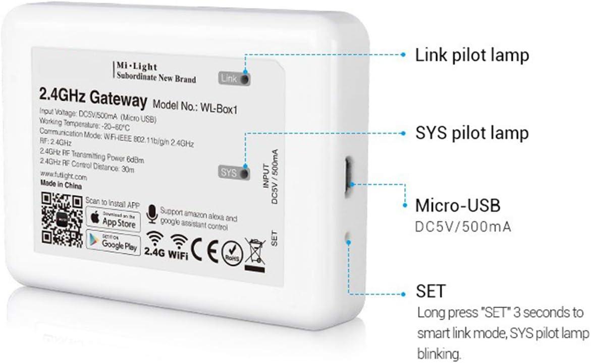 HelloCreate Contr/ôleur WiFi intelligent sans fil pour Mi-Light S/érie RF 2,4 GHz Blanc